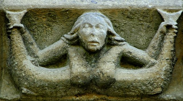 Adderbury, Oxfordshire Corbel frieze, north side, mid C14 - mermaid