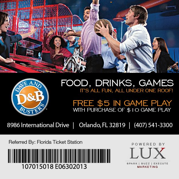 image relating to Dave and Busters Printable Coupons known as Dave Busters Coupon (Orlando, Florida) Enjoyment Park
