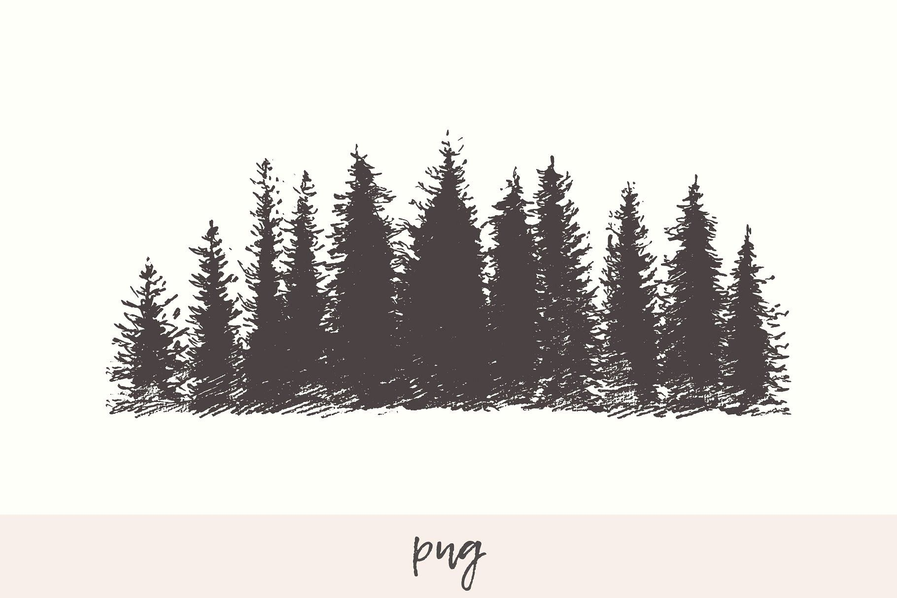 Mountain Slope With A Fir Forest Png Dpi Transparent Jpg Graphic Just Ink Forest