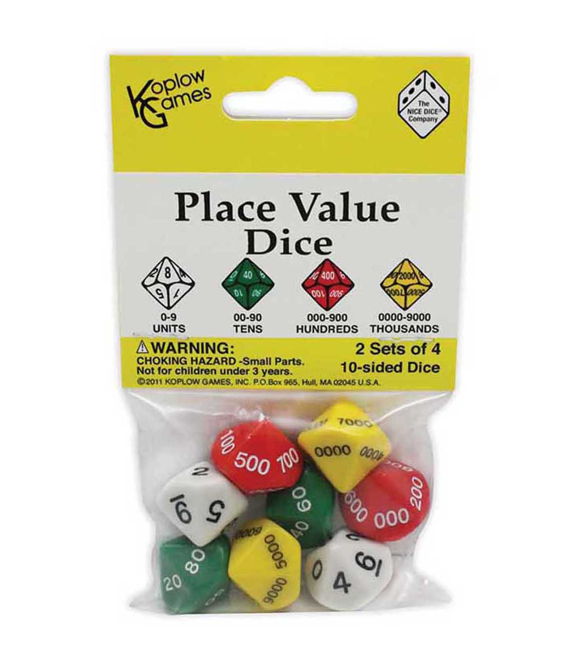 Koplow Games Place Value 10 Sided Dice 8 Per Pack 6