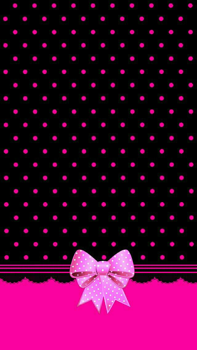 Pink And Black Bow Made By Me Patterns Pink Bows Dots Polkadots Cute Simple Bow Wallpaper Valentines Wallpaper Cute Pink Background