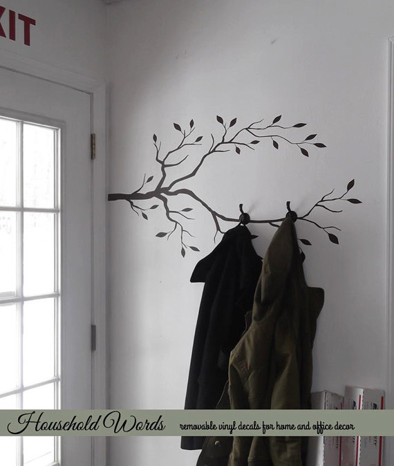 Tree Branch Wall Decor Vinyl Wall Decal Tree Limb Decal Woodland Unique Branch Wall Coat Rack