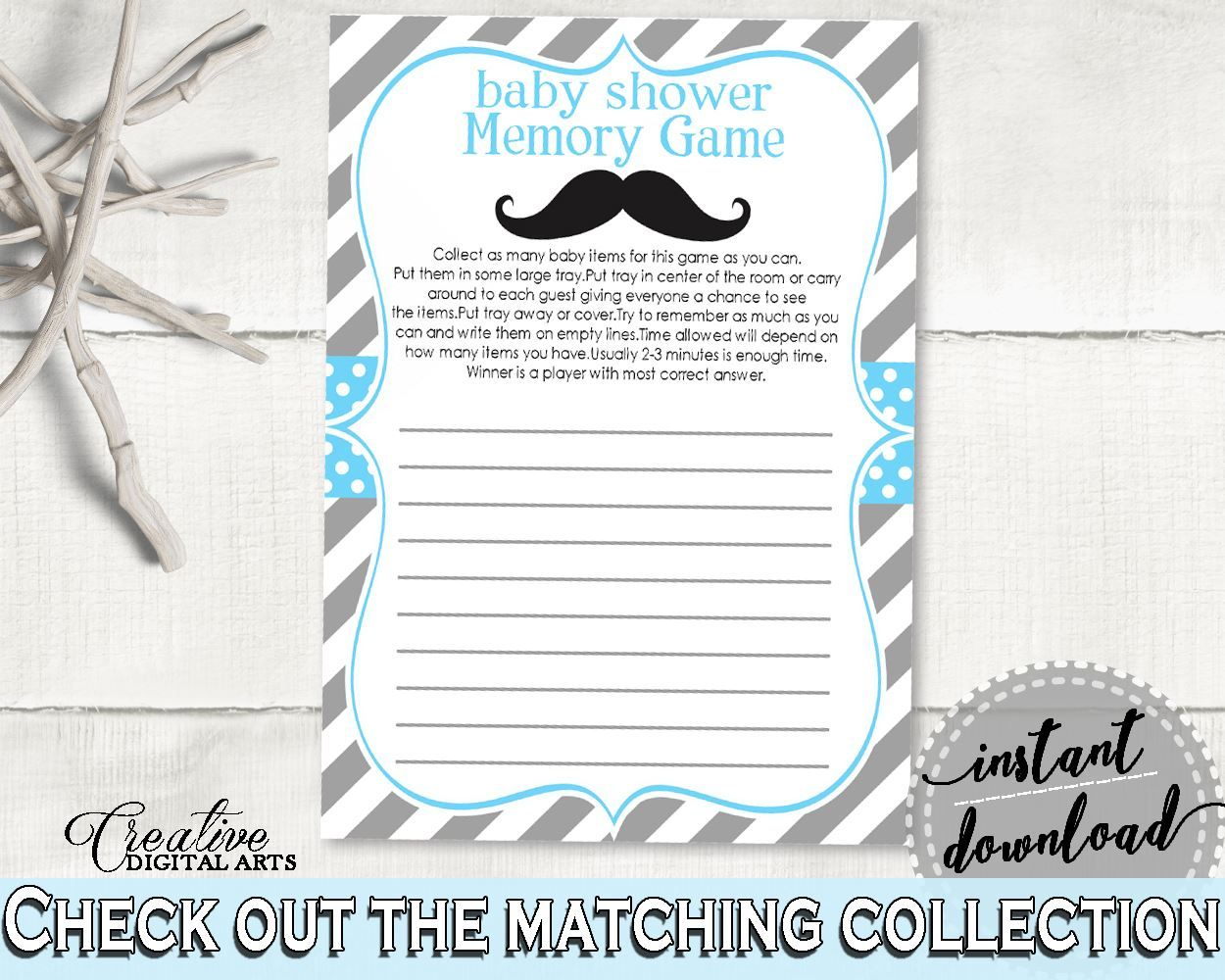 Blue Gray Memory Game, Baby Shower Memory Game, Mustache Baby Shower Memory  Game,
