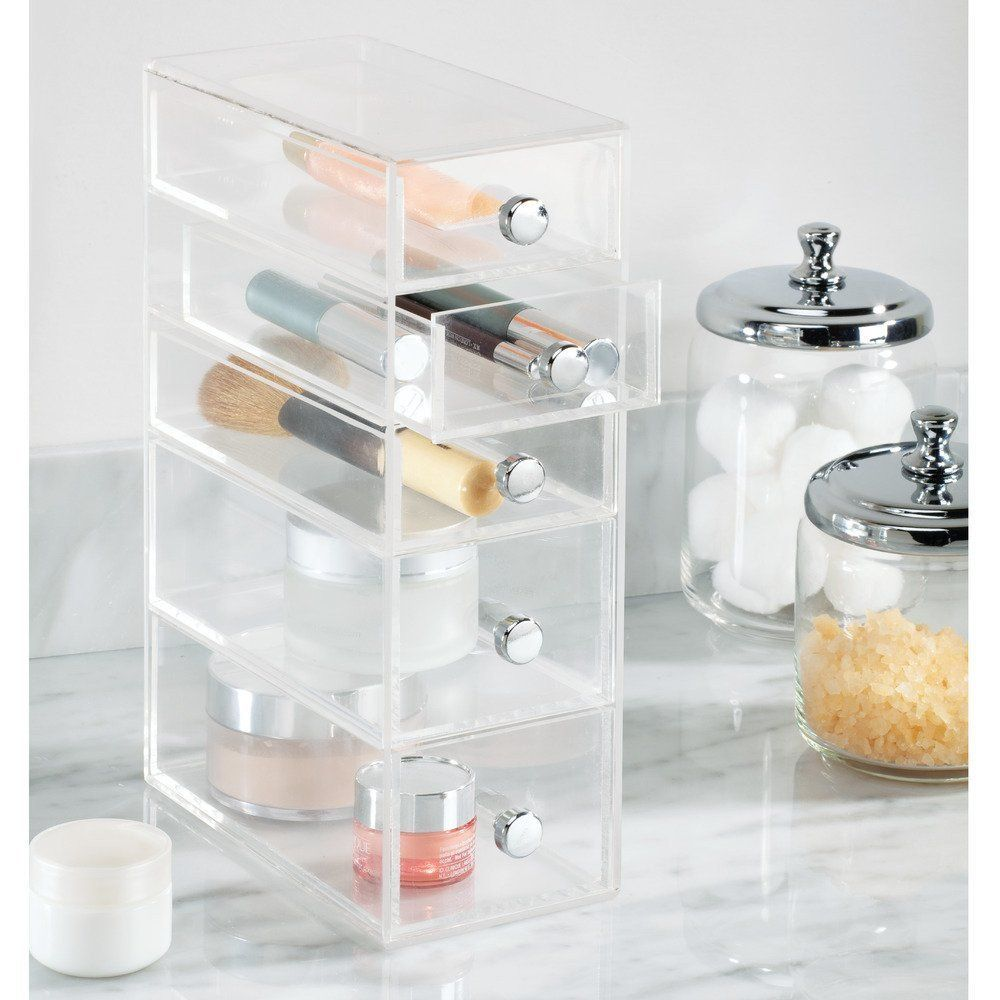 drawer organizer tower vanity clear acrylic cabinet to hold makeup
