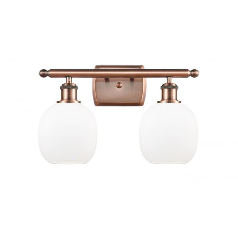 Photo of Innovations Lighting 516-2W Belfast Belfast 2 Light 16″ Wide Vanity Light Antique Copper / Matte White Indoor Lighting Bathroom Fixtures Vanity Light