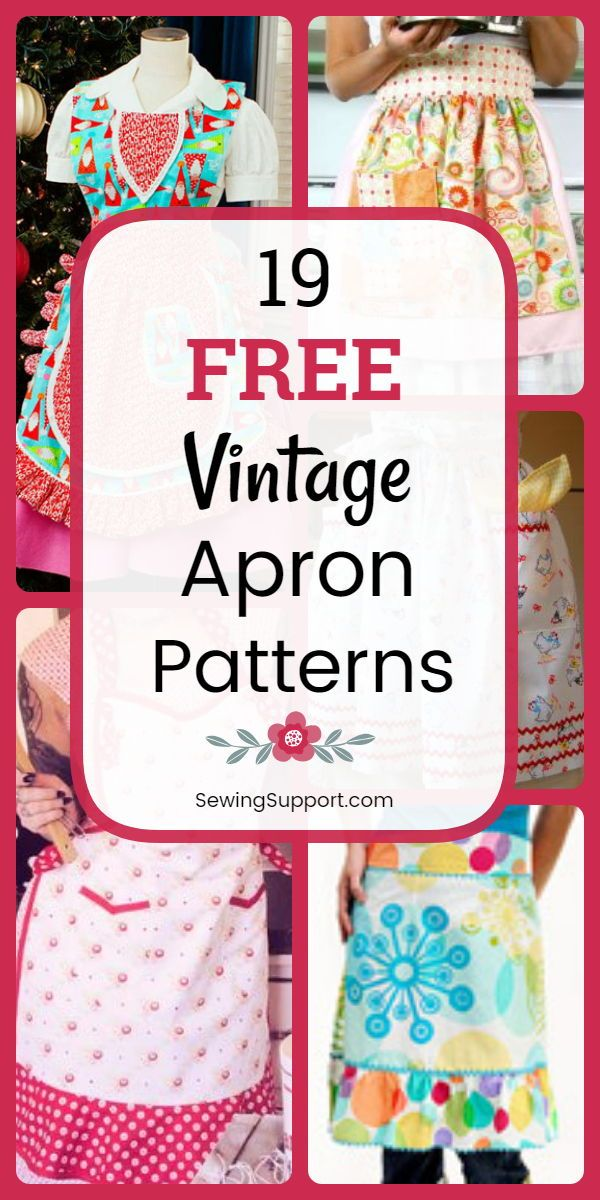 Free Vintage Apron patterns, diy projects, and sewing tutorials. Full and half styles to sew, fun ruffled styles with and without pockets. #sewingsupport #apron #diygifts #pattern #tutorial #beginnersewingprojects