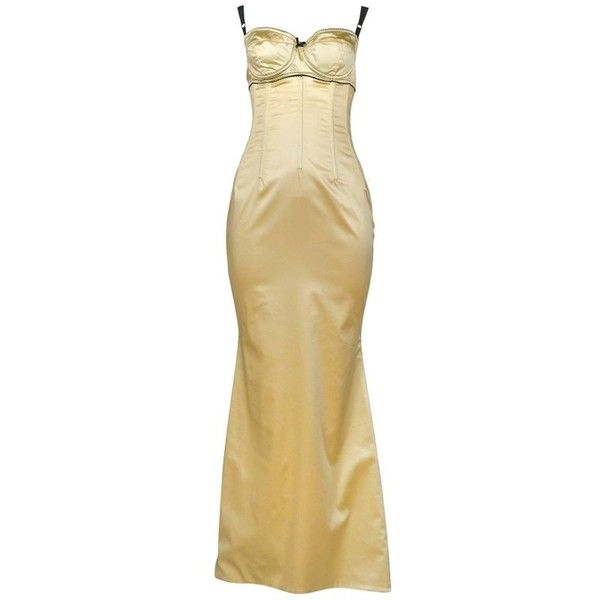 Preowned Dolce & Gabbana Pale Yellow Satin Bustier Gown (5.875 BRL ...