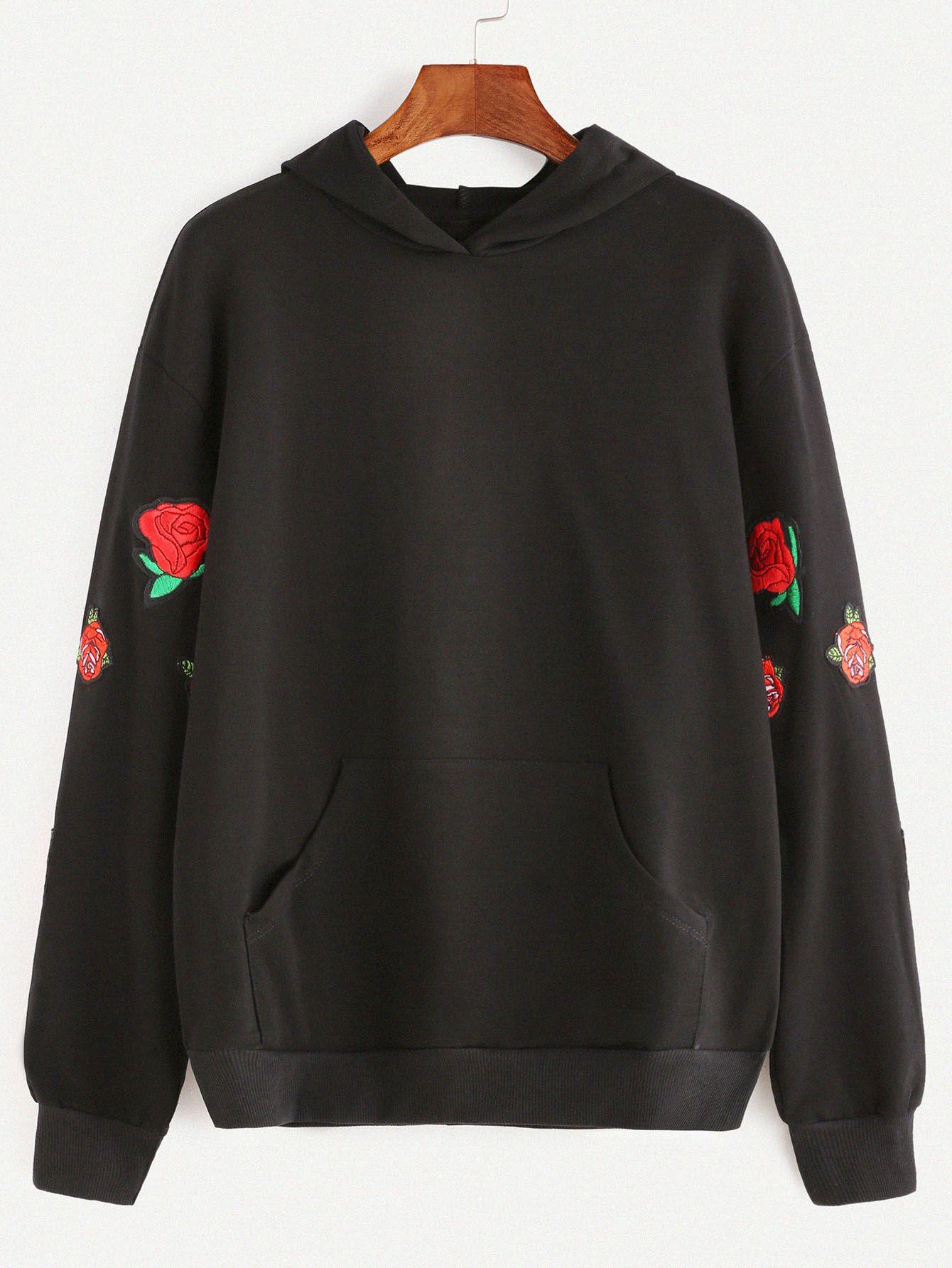 Shop black pocket front rose embroidered hoodie online