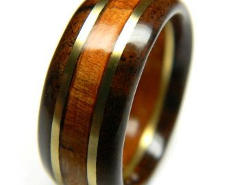 Handsome Walnut and Cherry Wood Wedding Band by SaxonWoodJewels