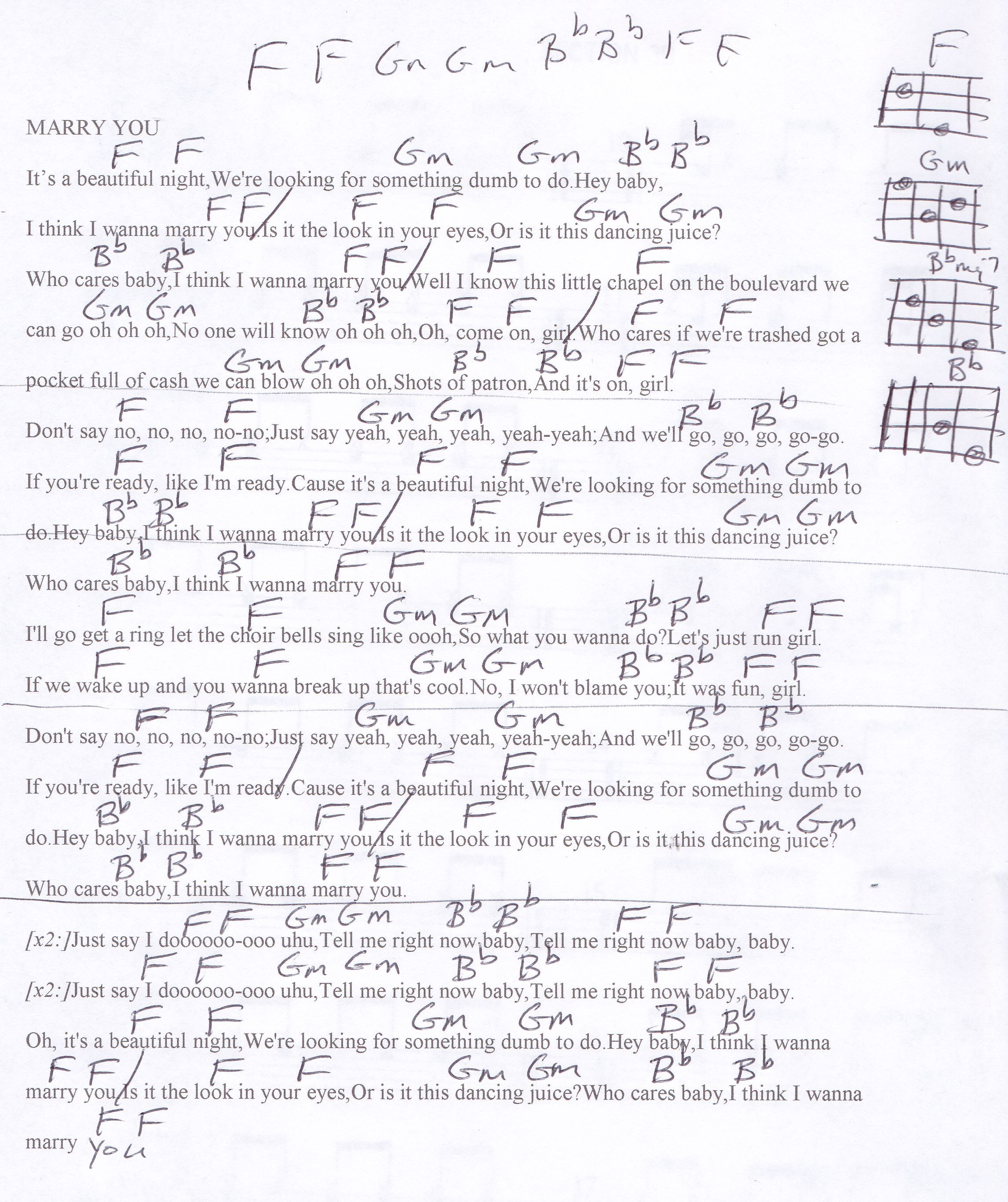 Marry you bruno mars guitar chord chart in f guitar lesson marry you bruno mars guitar chord chart in f hexwebz Gallery