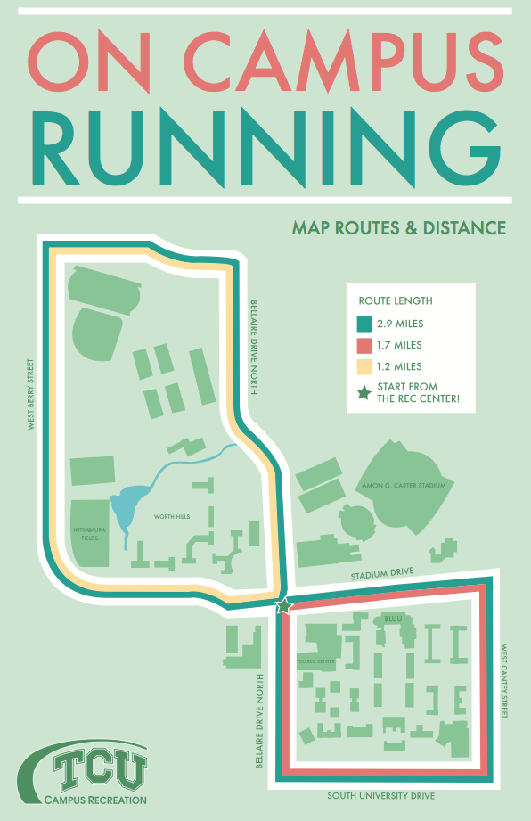 Tcu Campus Running Routes All Things Rec Tcu Campus College