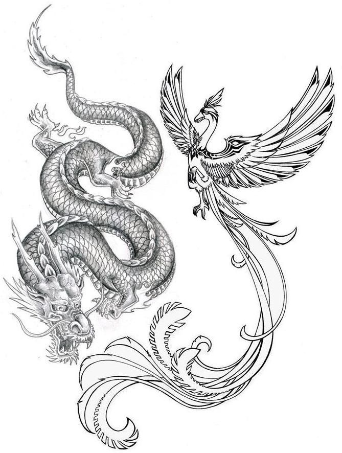 51 Dragon Phoenix Tattoos Designs With Meanings In 2020 Dragon Sleeve Tattoos Dragon Tattoos For Men Tattoo Dragon And Phoenix