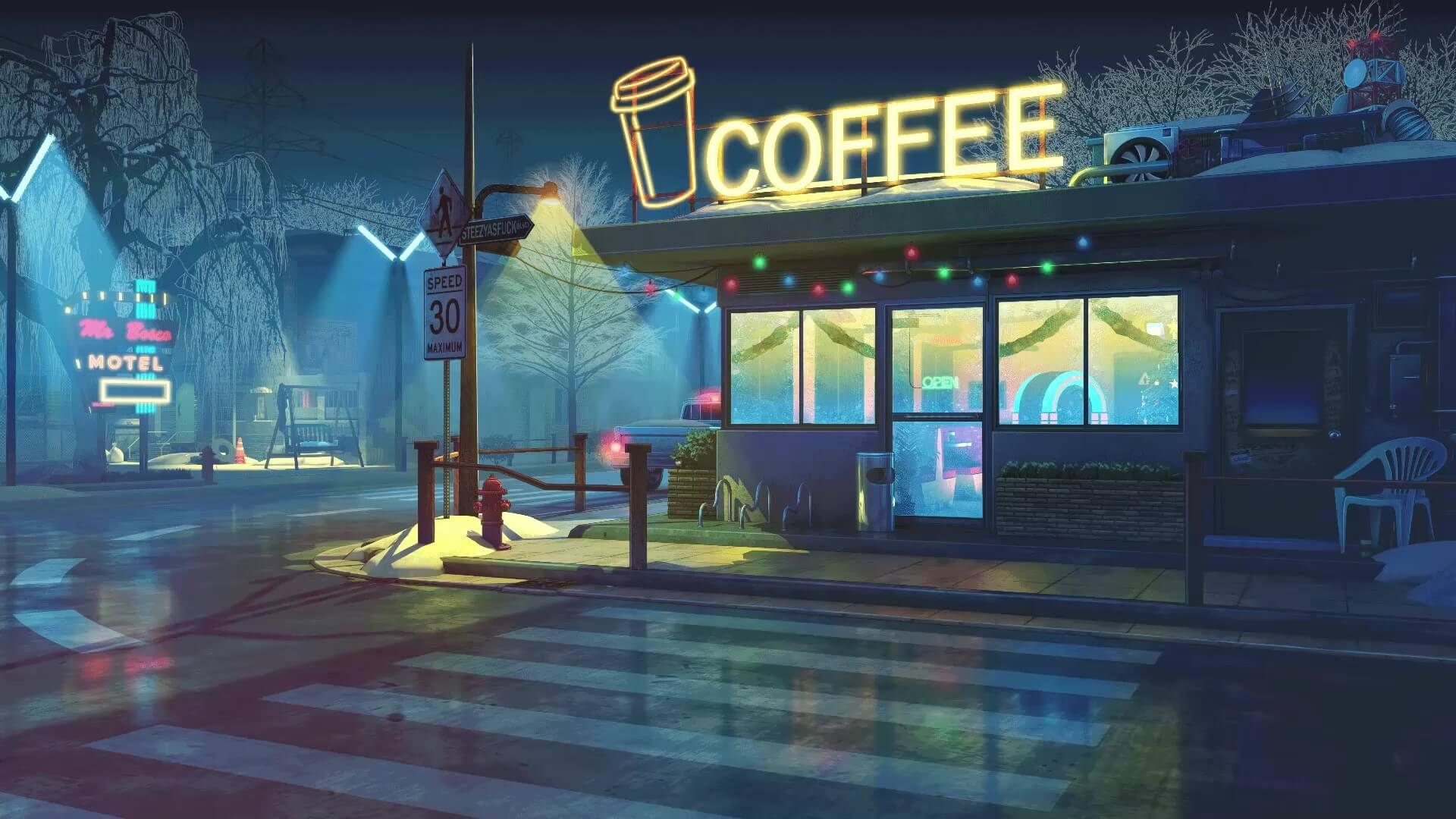 Retro Coffee Shop Live Wallpaper 1920 X 1080 Ilustracao Da Cidade Cenario Anime Cenarios Digitais