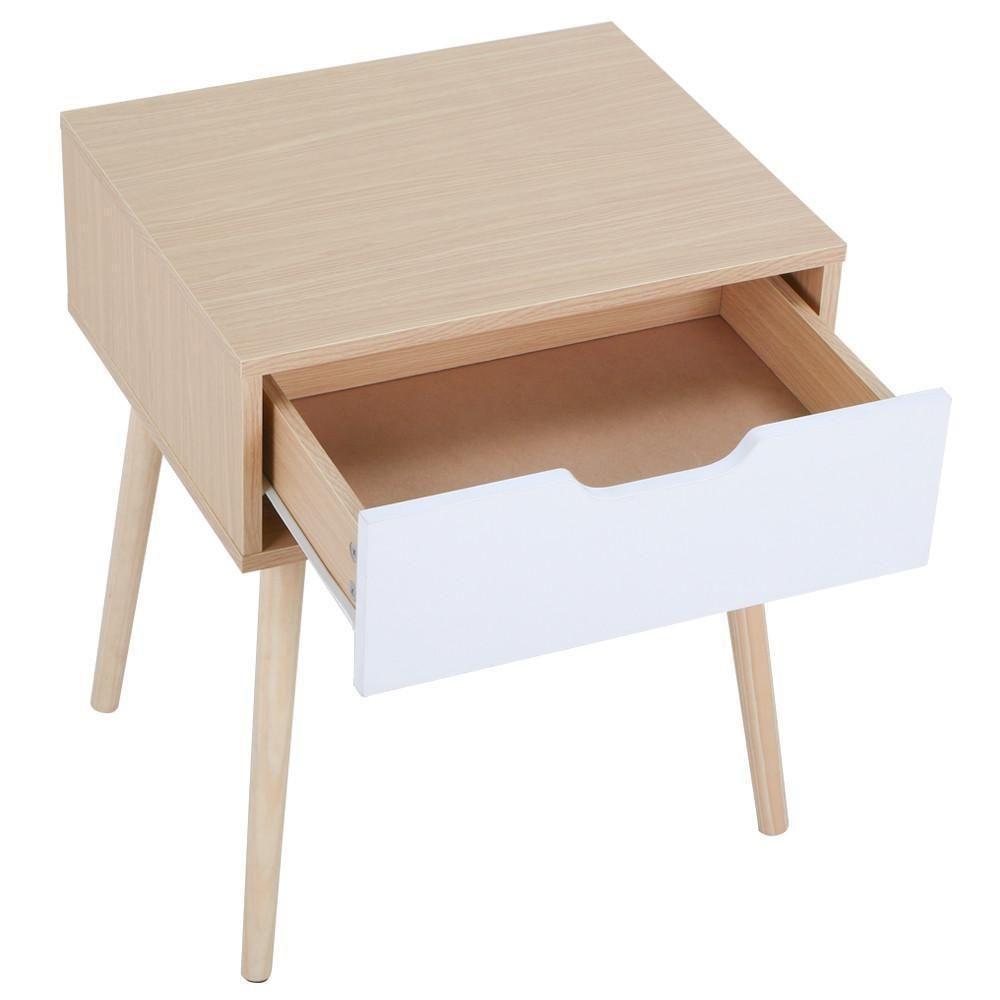 Best Wooden Beside Nightstand Table Mid Century Retro Bedroom 400 x 300