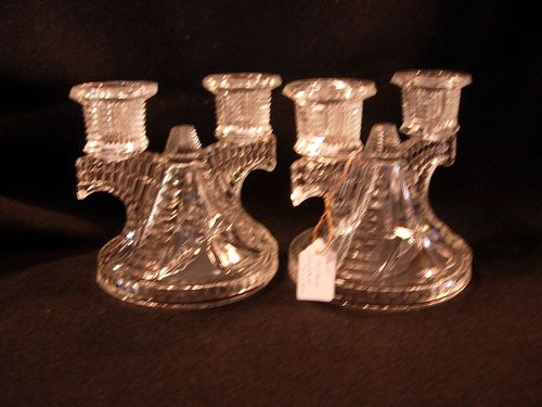 Vintage Pair Of Federal Glass Wigwam Glass Double Candle