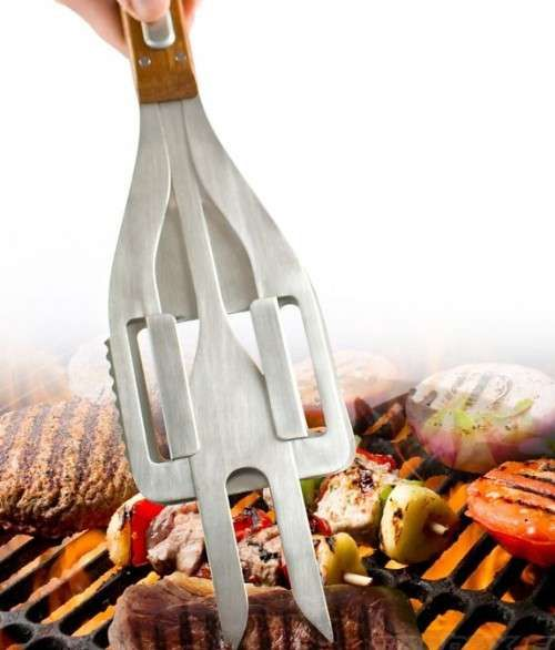 The Stake 3 In 1 Bbq Tool Boasts A Spatula Fork And Tongs Multipurpose Kitchen Trendhunter