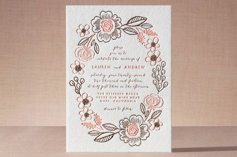 "botanical wreath"" - customizable letterpress wedding invitations, Wedding invitations"