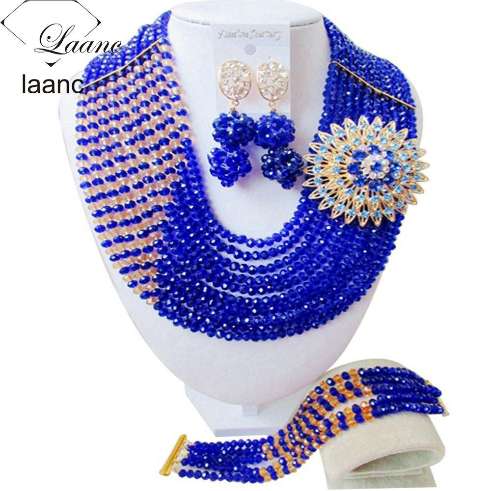 Royal Blue Gold Champagne Crystal Beads Costume Jewelry Sets Nigerian Wedding African