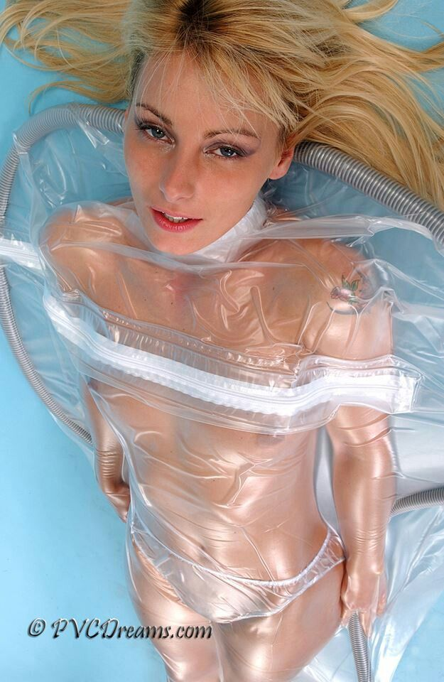 Nude girl clear plastic wrap