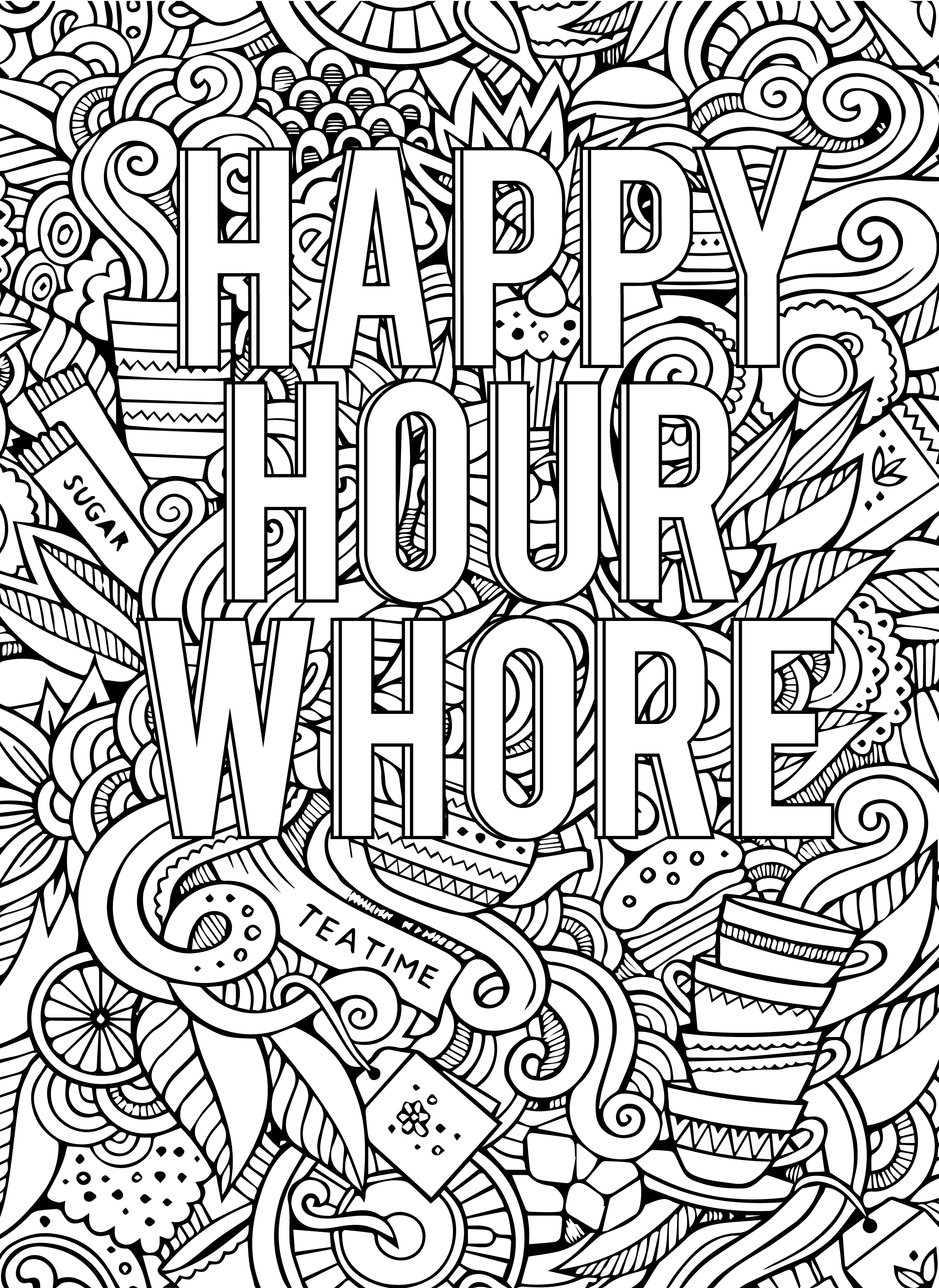 Swear Word Adult Coloring Book For Adult Pages Happy Hour Whore