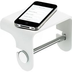 Stone Toilettenpapierhalter mit Ablage weiß-edelstahl matt Decor WaltherDecor Walther