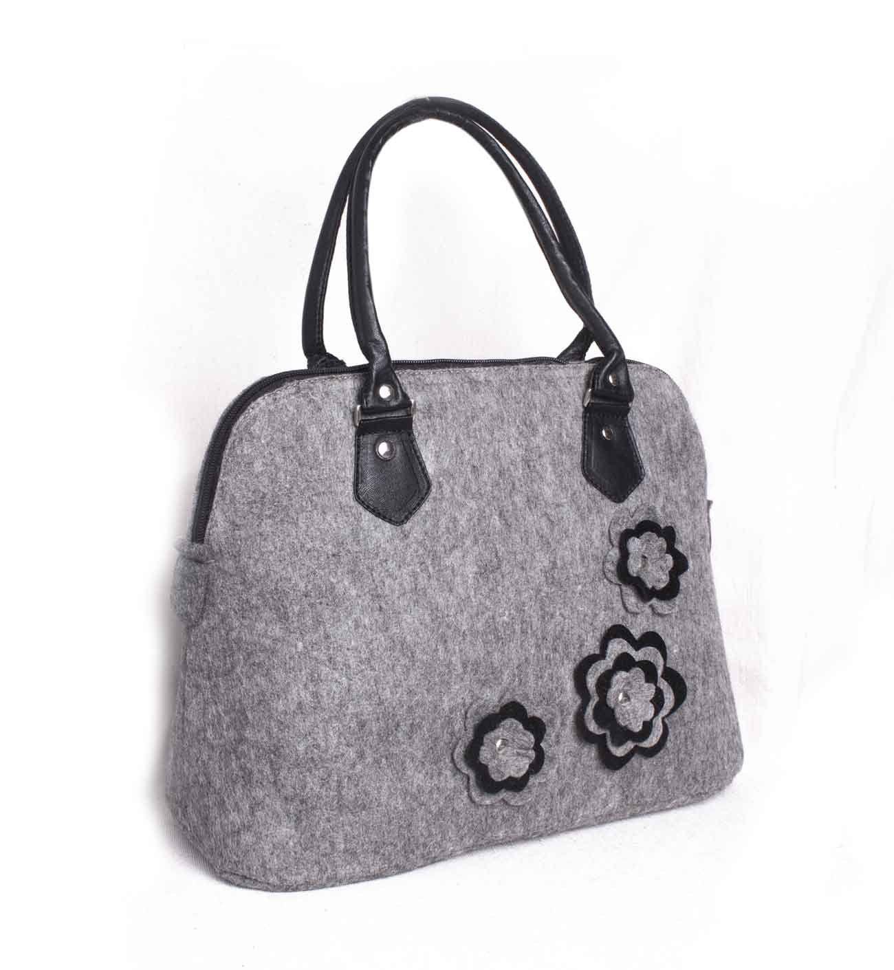 Felted grey purse Felt tote Felt floral handbag Felted flower purse