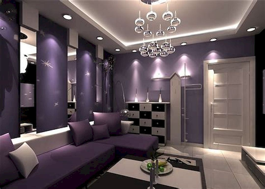 дизайн зала в сиреневых тонах фото пеноблоков цокольным этажом