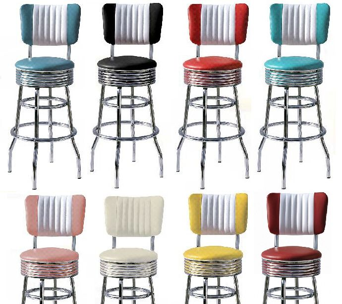 Retro 50s Style Diner Stools Diner Stools Bel Air 50s American