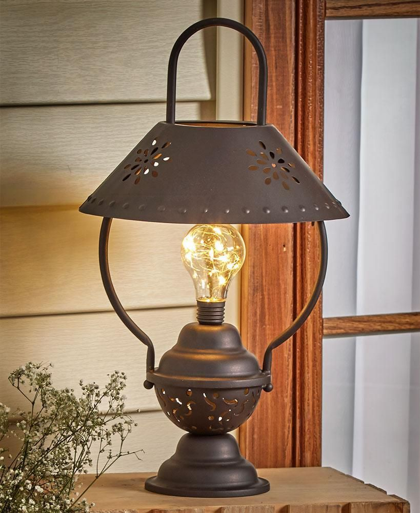 Rustic Country Table Lantern Lamp Flower Shaped Cut Out