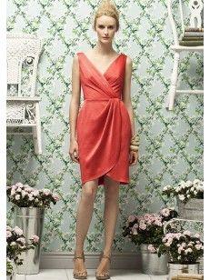 Column Col En V Plis Knee-length Satin Robes De Demoiselle D\'Honneur