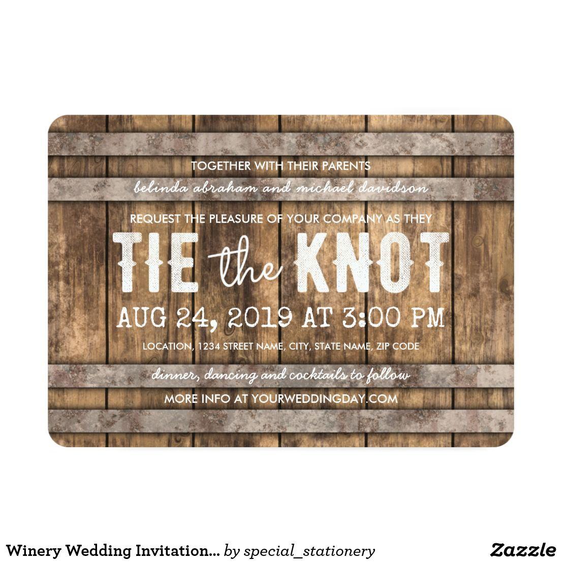 Winery Wedding Invitation Rustic Wooden Barrel Winery Wedding