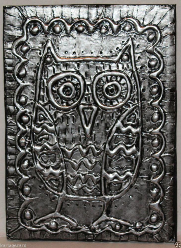 Owl quot folk art abstract prim foil relief piece