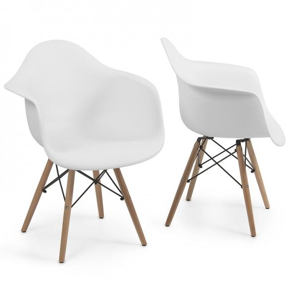 Set Of 2 White   Eames Style Armchair Natural Wood Legs Eiffel Dining Room  Chair