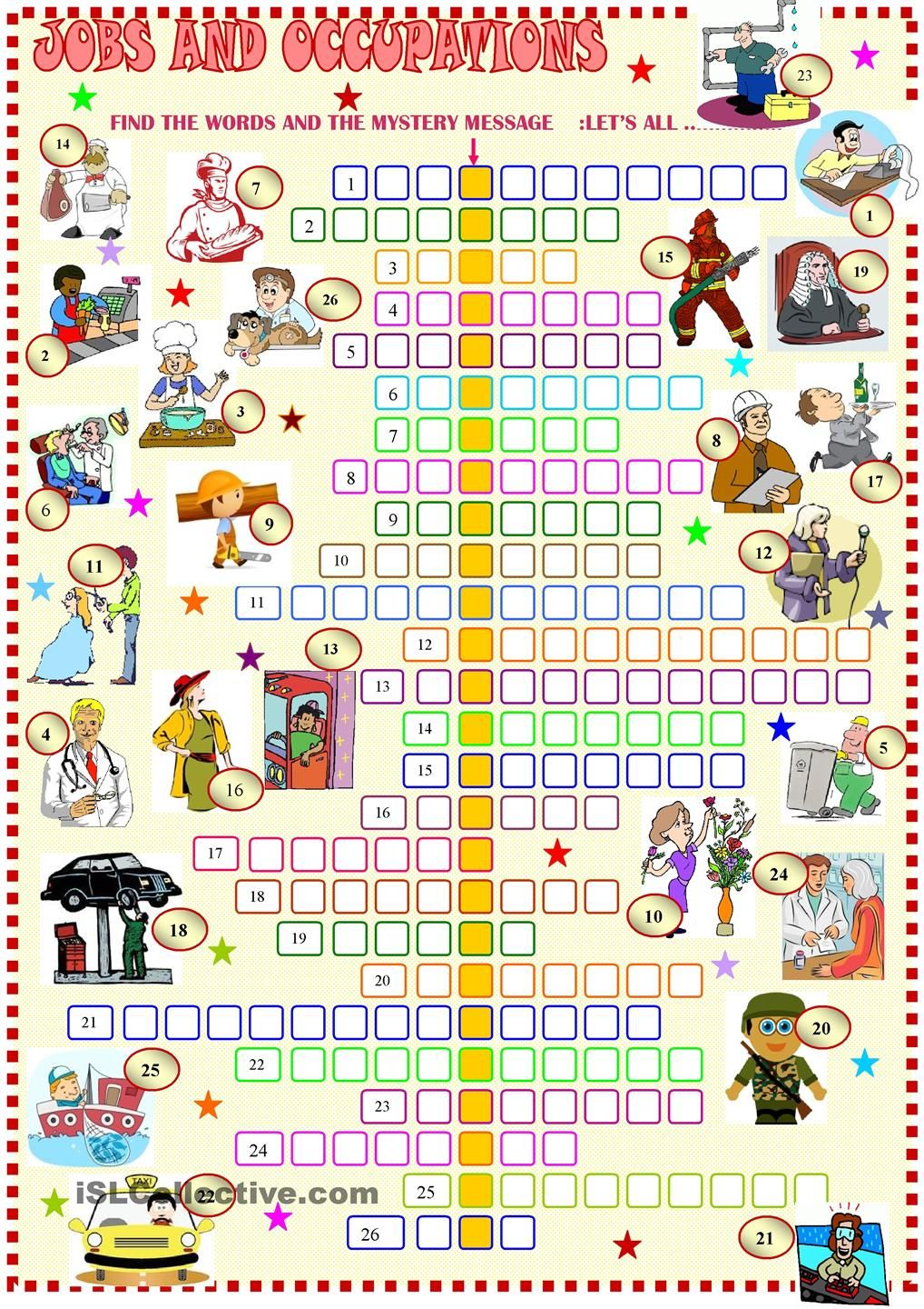 worksheet Grammar Puzzle Worksheets jobs crosswords esl ideas pinterest english worksheets and have fun with irregular verbs key of the crossword included worksheet free printable made by teachers