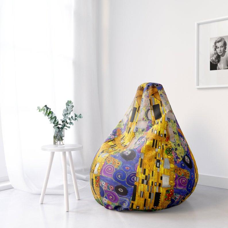 Gustav Klimt Printed Bean Bag Chair By Carlos V Etsy In 2020 Bean Bag Chair Bean Sofa Chair