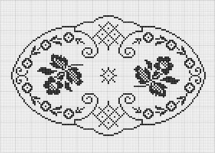 Oval 55 Free Chart For Cross Stitch Filet Crochet Chart For