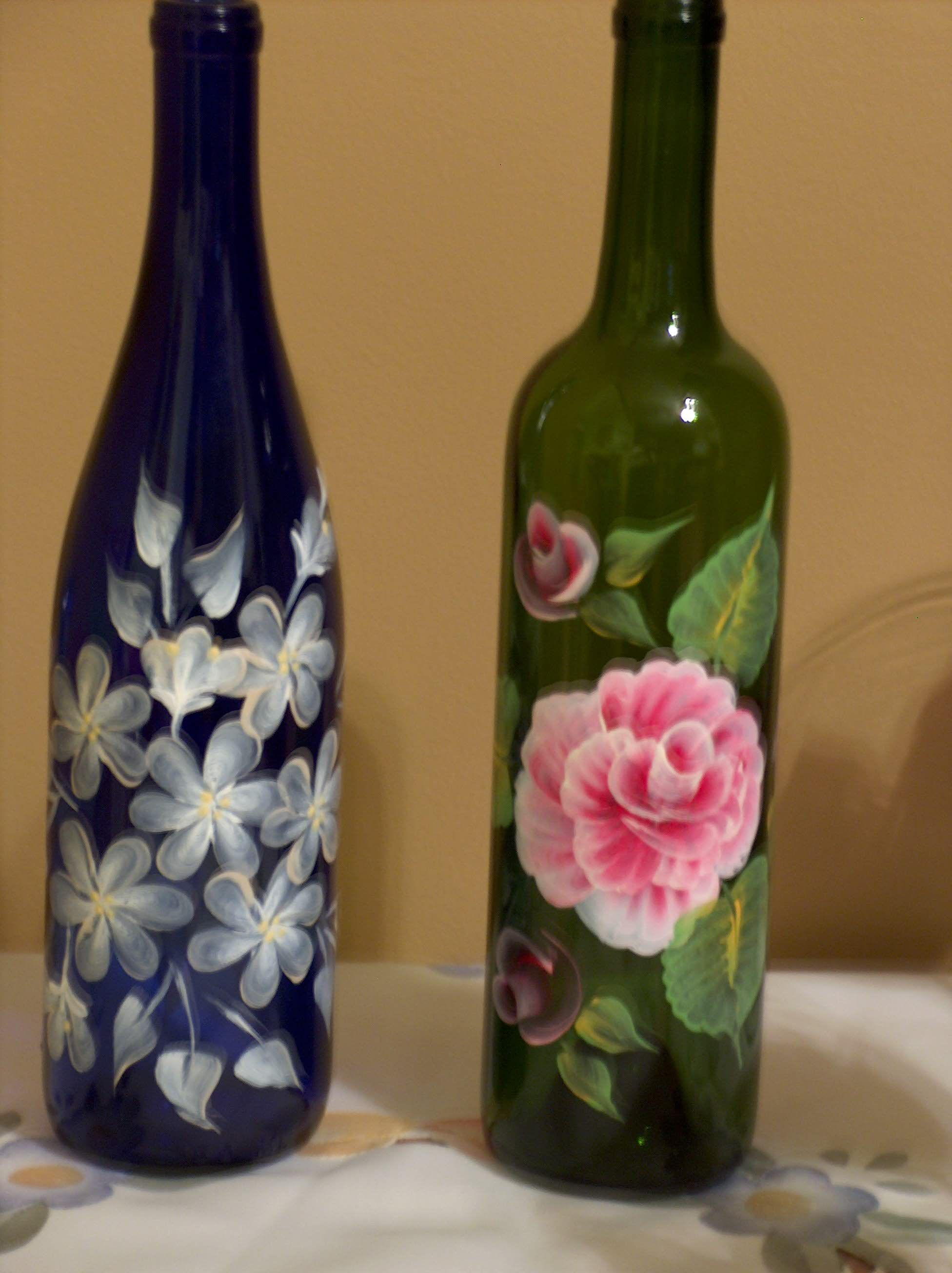 Blue and green painted wine bottles marg blasky 39 s one for Easy wine bottle painting ideas