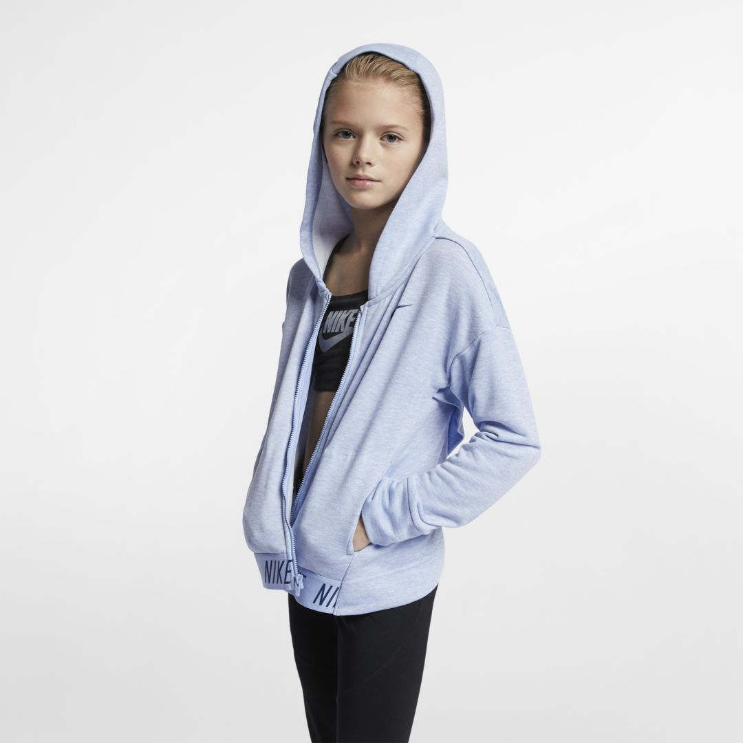 1a05fb2e Nike Big Kids' (Girls') Full-Zip Training Hoodie Size XS (Aluminum ...