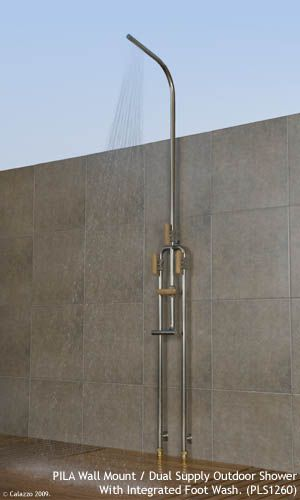 Calazzo Com Pila Outdoor Showers Wall Mount Dual Supply Hot Cold With Integrated Foot Wash With Images Foot Wash Shower Wall Outdoor Shower