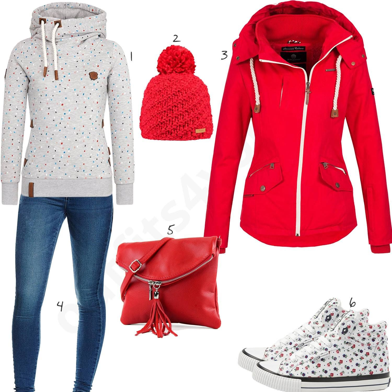 Rotes Damenoutfit mit Naketano Hoodie und High Top Sneakern