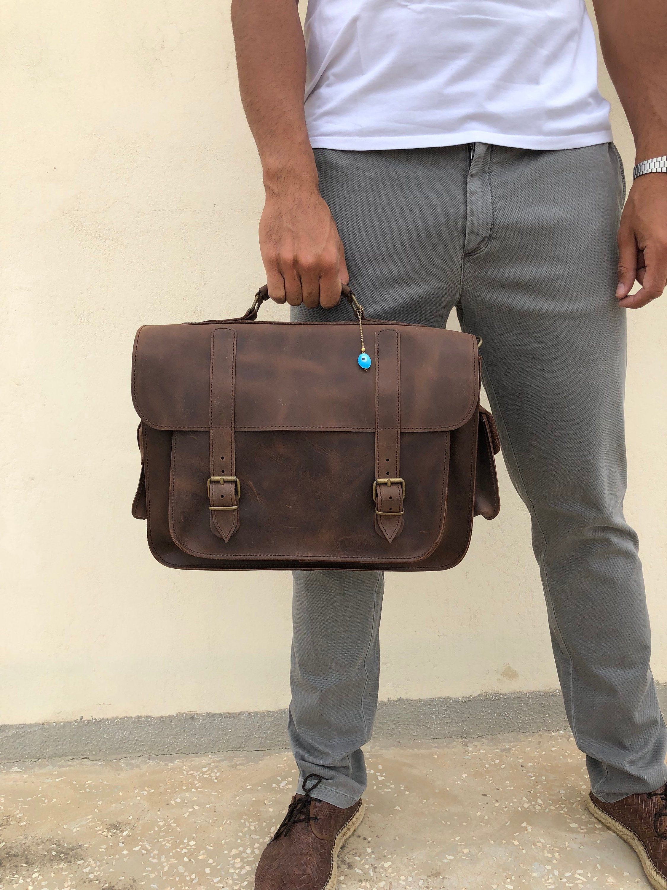 Leather Briefcase Men Brown Leather Messenger Bag 15 Inch Etsy Brown Leather Messenger Bag Leather Briefcase Men Briefcase For Men