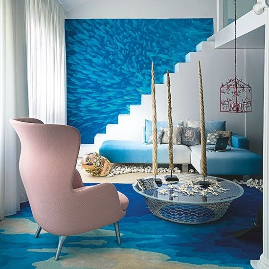 Modern Aqua And White Living Room Decorating Using A Marine Palette Creates An Oasis Of Calm In This