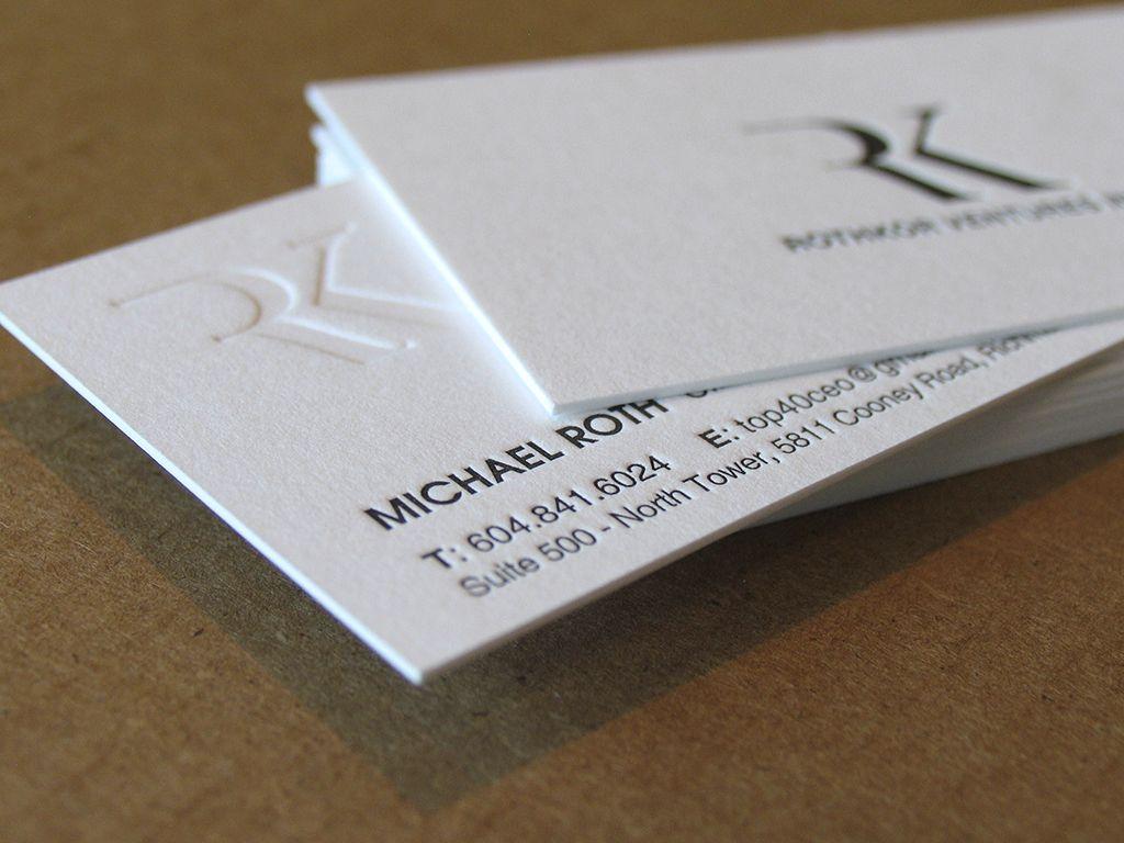 Letterpress business cards, Paper: 600 gsm cotton paper, 2 ...