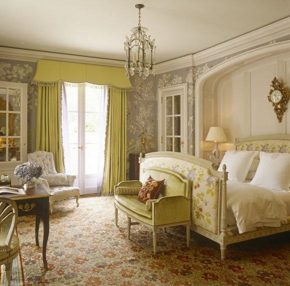 An Upholstered French Bed, Citron-colored Chinoiserie