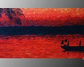 "ORIGINAL Artwork 20"" x 8"" x 1 1/2"" Acrylics on Box Canvas Painting by ArtworkbyJeni ""Off the Shores of Ghana"" $85"