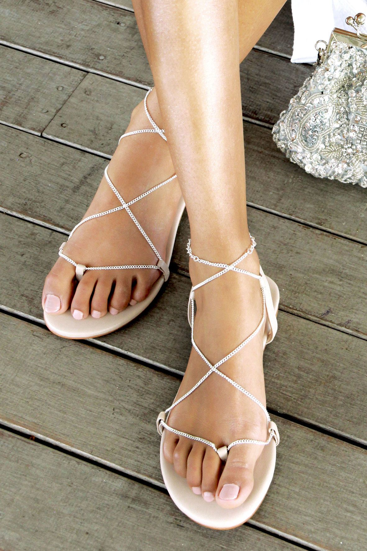 fb37e08a895 Nude flat sandals Silver chains nude leather sandal bridal