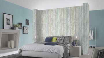 Design Behangpapier Slaapkamer : Brix behang blauw ecru roze in slaapkamer scandinavisch