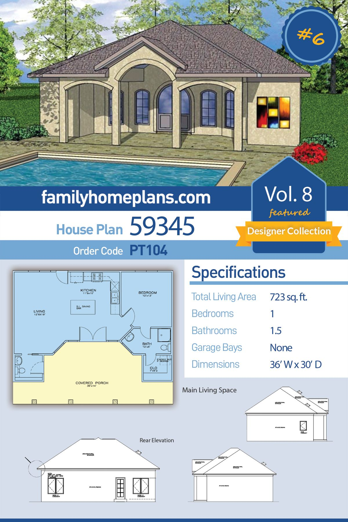 Tiny Home Floor Plan with European Styling Guest House or Pool House