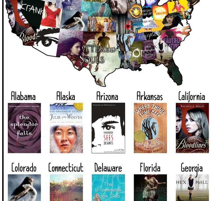 Read your way across the USA with books for children and teens. Also be sure to click on the link for the list of YA novels by state.