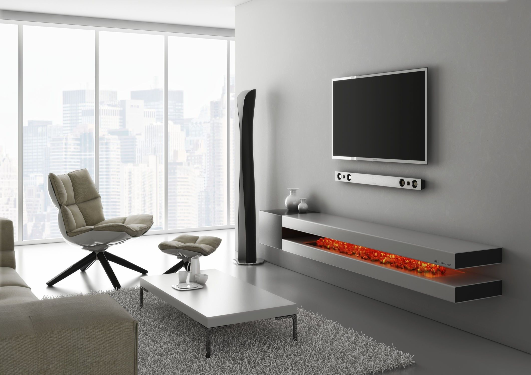 Natural Mahogany Wood Floating Media Cabinet Below Wall Mounted Vintage How To Become An Interior Designer Design Magazine